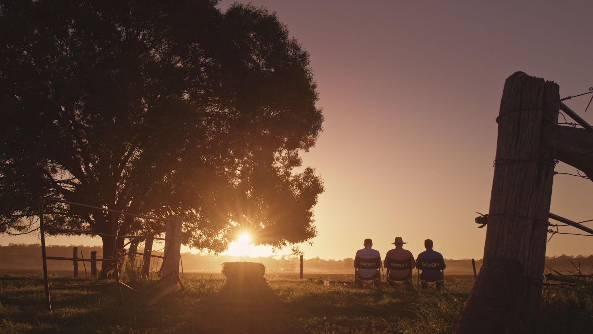 Three Aussie Farmers Sunset