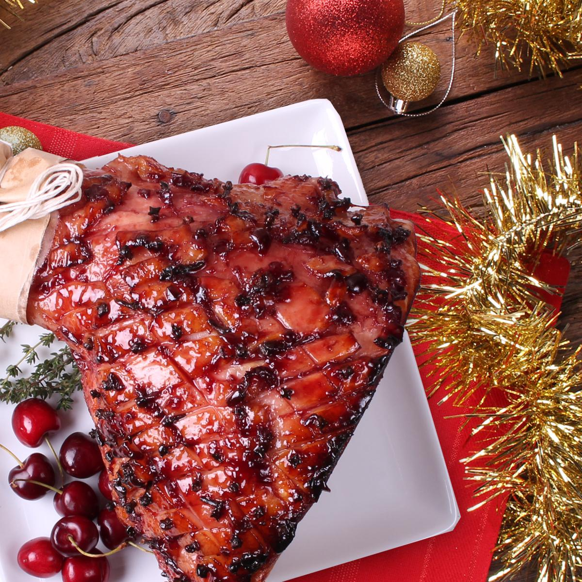 Cherry Bourbon glazed Leg Ham