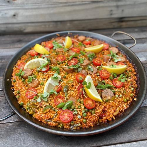 Dan and stephs spicy sicilian sausage paella - Sicilian sausage