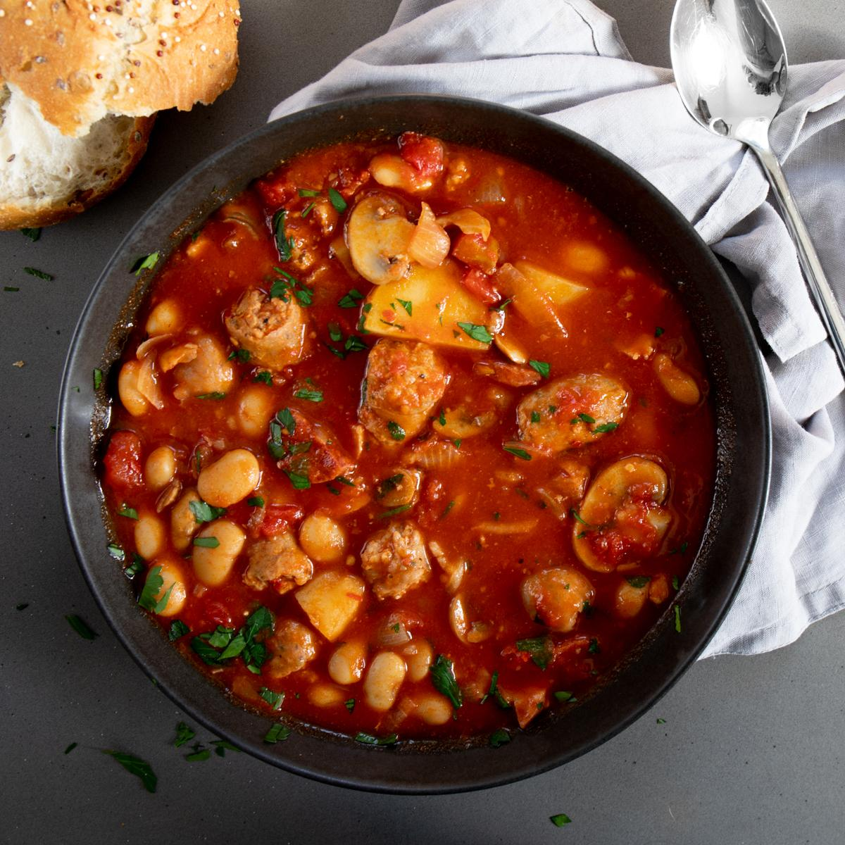 smoky bacon chorizo and sausage stew - Spicy Sicilian Sausages
