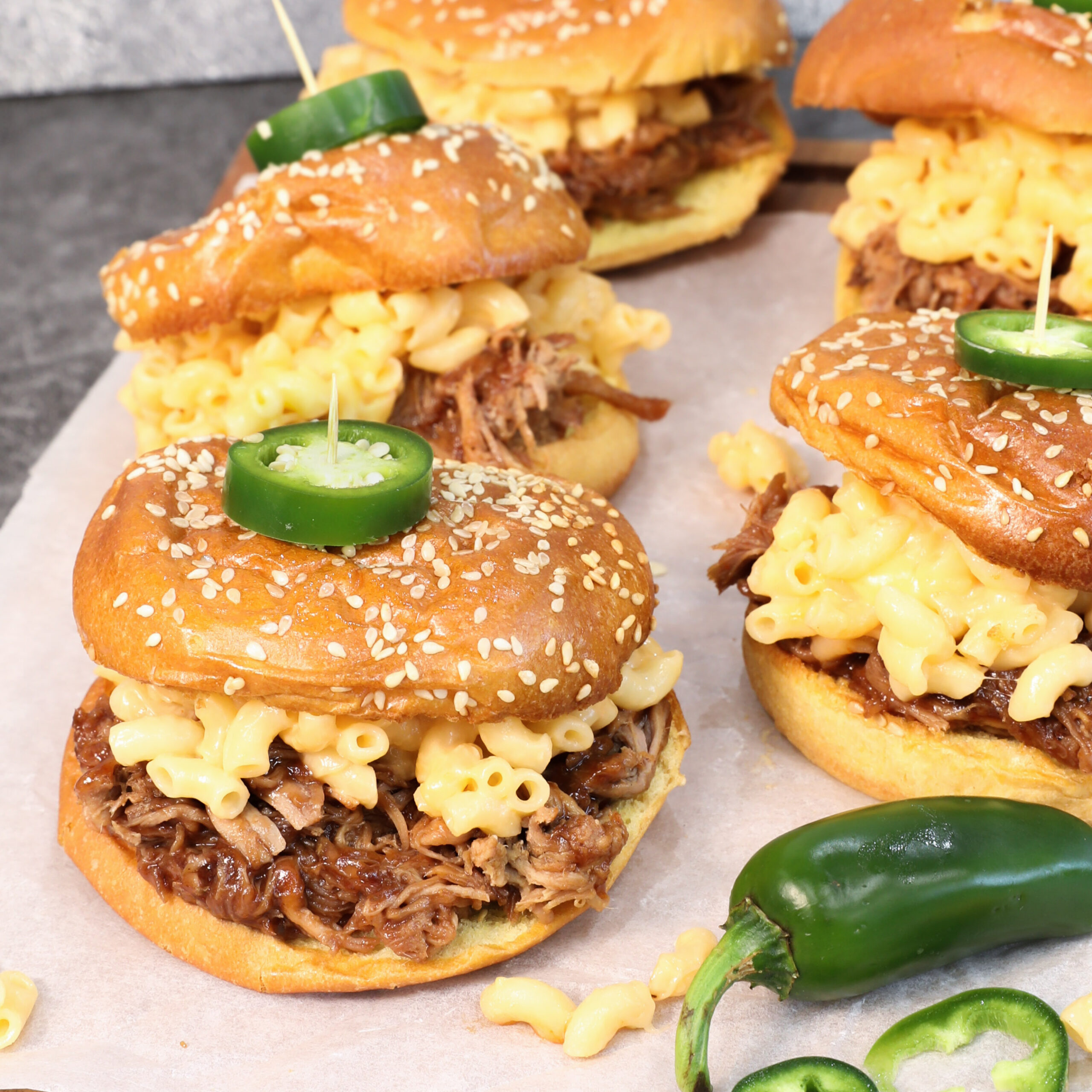 Pulled Pork Mac and Cheese Sliders