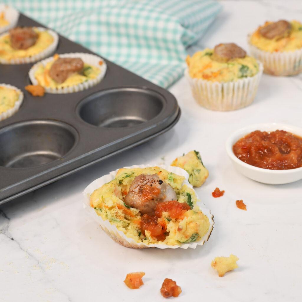 Sausage and sweet potato muffins
