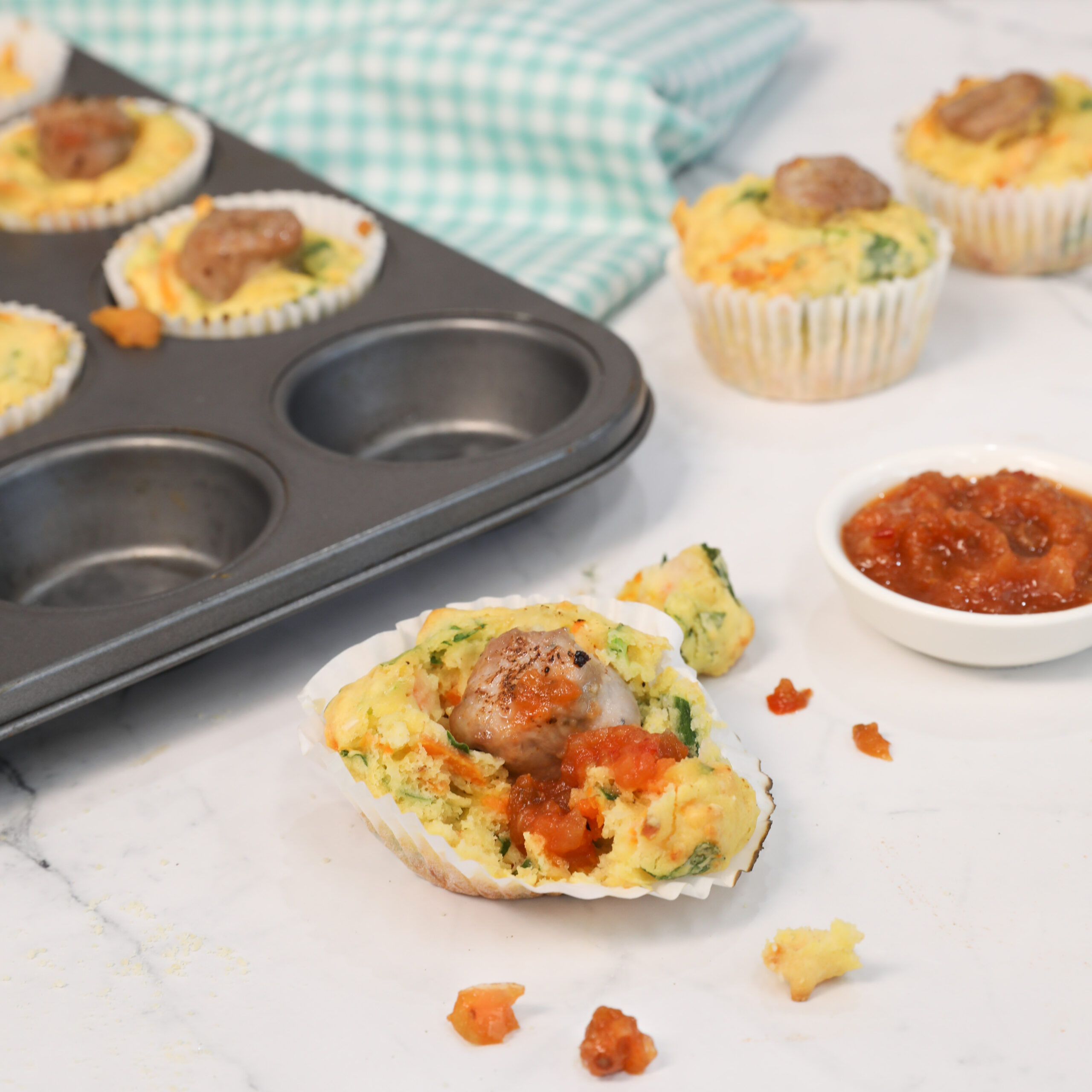 Sausage and sweet potato muffins